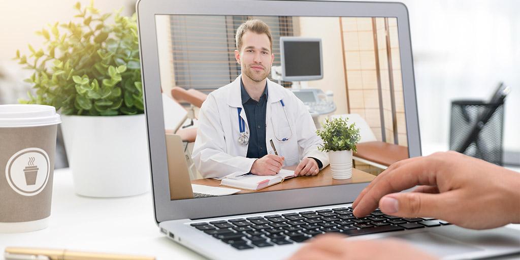 Doctor performing telemedicine